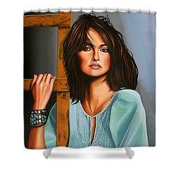 Penelope Cruz Shower Curtain by Paul Meijering