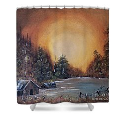 Pennsylvania Shenango Dawn In Oil Shower Curtain by Janice Rae Pariza