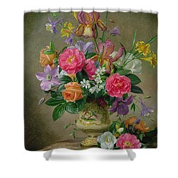 Peonies And Irises In A Ceramic Vase Shower Curtain by Albert Williams