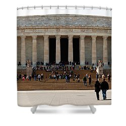 People At Lincoln Memorial, The Mall Shower Curtain by Panoramic Images