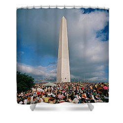 People At Washington Monument, The Shower Curtain by Panoramic Images