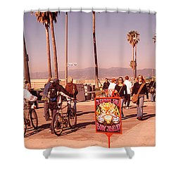 People Walking On The Sidewalk, Venice Shower Curtain by Panoramic Images