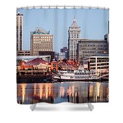 Peoria Illinois Skyline Shower Curtain by Paul Velgos