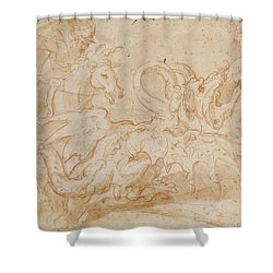 Perseus Rescuing Andromeda Red Chalk On Paper Shower Curtain by or Zuccaro, Federico Zuccari