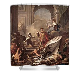 Perseus, Under The Protection Of Minerva, Turns Phineus To Stone By Brandishing The Head Of Medusa Shower Curtain by Jean-Marc Nattier