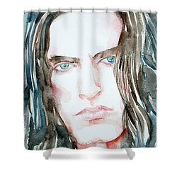 Peter Steele Watercolor Portrait Shower Curtain by Fabrizio Cassetta