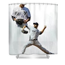 Pettitte  Andy Pettitte Shower Curtain by Iconic Images Art Gallery David Pucciarelli