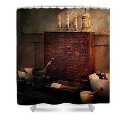 Pharmacist - Organizing Powder Shower Curtain by Mike Savad
