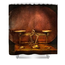 Pharmacy - Balancing Act  Shower Curtain by Mike Savad