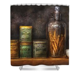 Pharmacy - Cough Drops And Kidney Pills Shower Curtain by Mike Savad