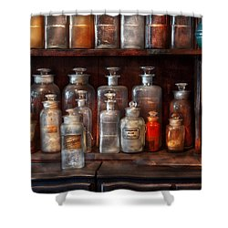 Pharmacy - The Chemistry Set Shower Curtain by Mike Savad