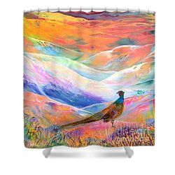 Pheasant Moon Shower Curtain by Jane Small