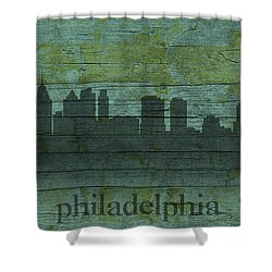 Philadelphia Pennsylvania Skyline Art On Distressed Wood Boards Shower Curtain by Design Turnpike