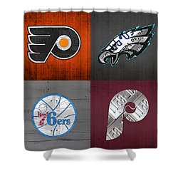 Philadelphia Sports Fan Recycled Vintage Pennsylvania License Plate Art Flyers Eagles 76ers Phillies Shower Curtain by Design Turnpike