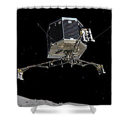 Shower Curtain featuring the photograph Philae Lander Descending To Comet 67pc-g by Science Source