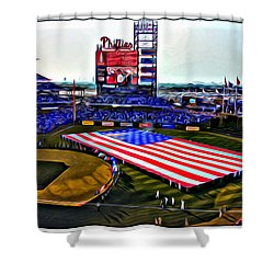 Phillies American Shower Curtain by Alice Gipson