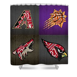 Phoenix Sports Fan Recycled Vintage Arizona License Plate Art Diamondbacks Suns Coyotes Cardinals Shower Curtain by Design Turnpike