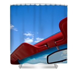 Photo Of Convertible Car And Blue Sky Shower Curtain by Paul Velgos