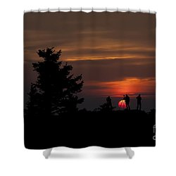 Photographers Shooting Sunrise At Bear Rocks Shower Curtain by Dan Friend