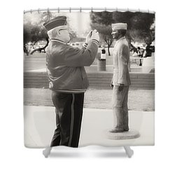 Photographing Ira Hayes Shower Curtain by Hugh Smith