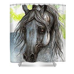 Piaff Polish Arabian Horse Watercolor  Painting 1 Shower Curtain by Angel  Tarantella