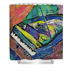 Piano Blue Shower Curtain by Anita Burgermeister