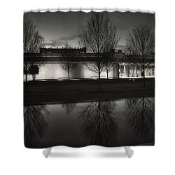 Piano Pavilion Bw Reflections Shower Curtain by Joan Carroll