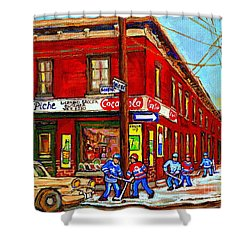 Piche's Grocery Store Bridge Street And Forfar Goosevillage Montreal Memories By Carole Spandau Shower Curtain by Carole Spandau