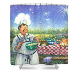 Picnic Chef Shower Curtain by Vickie Wade