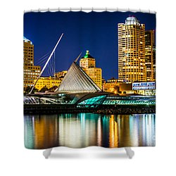 Picture Of Milwaukee Skyline At Night Shower Curtain by Paul Velgos