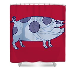 Piddle Valley Pig Shower Curtain by Sarah Hough