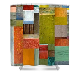 Pieces Parts Lll Shower Curtain by Michelle Calkins