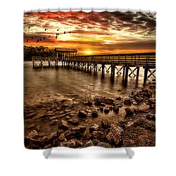 Pier At Smith Mountain Lake Shower Curtain by Joshua Minso