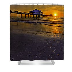 Pier Into The Sun Shower Curtain by Marvin Spates
