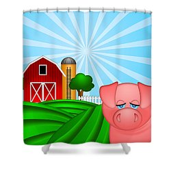 Pig On Green Pasture With Red Barn With Grain Silo  Shower Curtain by JPLDesigns