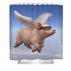 Pigs Fly 1 Shower Curtain by Mike McGlothlen