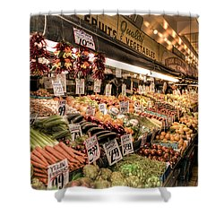 Pike Place Veggies Shower Curtain by Spencer McDonald