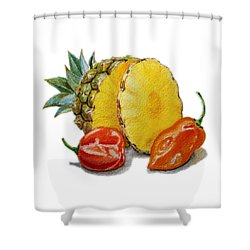 Pineapple Habanero Muy Caliente   Shower Curtain by Irina Sztukowski