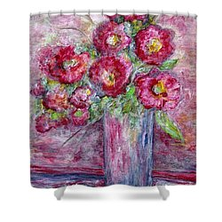 Pink Beauties In A Blue Crystal Vase Shower Curtain by Eloise Schneider
