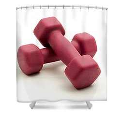 Pink Fixed-weight Dumbbells Shower Curtain by Fabrizio Troiani