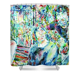 Pink Floyd At The Park Watercolor Portrait Shower Curtain by Fabrizio Cassetta