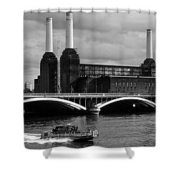 Pink Floyd's Pig At Battersea Shower Curtain by Dawn OConnor