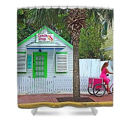 Pink Lady And The Conch Shop  Shower Curtain by Rebecca Korpita