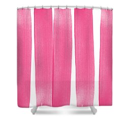 Pink Ribbons- Colorful Abstract Watercolor Painting Shower Curtain by Linda Woods