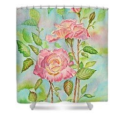 Pink Roses And Bud Shower Curtain by Kathryn Duncan