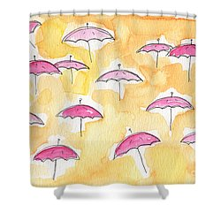 Pink Umbrellas Shower Curtain by Linda Woods