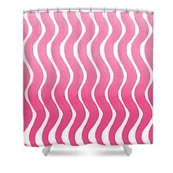 Pink Waves- Abstract Watercolor Pattern Shower Curtain by Linda Woods