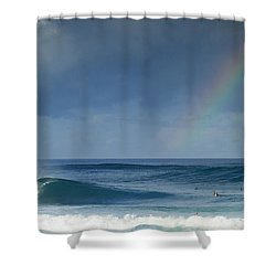 Pipe At The End Of The Rainbow Shower Curtain by Sean Davey