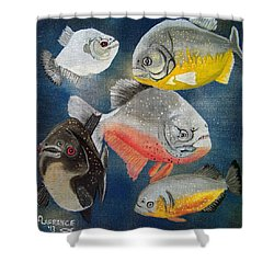 Pirahna  Fish Shower Curtain by Debbie LaFrance