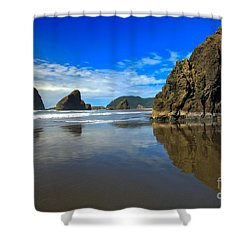 Pistol River Sea Stacks Shower Curtain by Adam Jewell